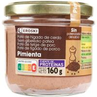 Paté a la pimienta EROSKI, frasco 125 g