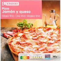 Pizza masa fina de jamón-queso EROSKI, caja 340 g