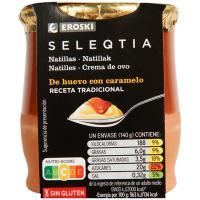 Natillas con caramelo Eroski SELEQTIA, tarro de barro 140 g
