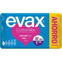 Compresa normal con alas EVAX Cottonlike, paquete 32 unid.
