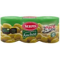 Aceitunas rellenas de anchoa EL SERPIS, pack 3x120 g