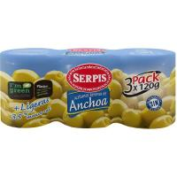 Aceitunas rellenas mas ligeras SERPIS, pack 3x150 g