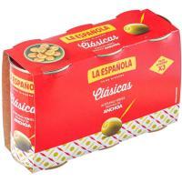 Aceitunas rellenas de anchoa LA ESPAÑOLA, pack 3x150 g