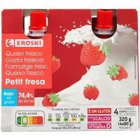 Petit de bolsillo sabor fresa EROSKI, pack 4x80 g