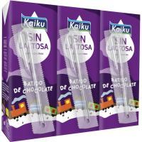 Batido de chocolate sin lactosa KAIKU, pack 3x200 ml
