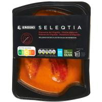 Pimientos rellenos de bacalao Eroski SELEQTIA, bandeja 300 g