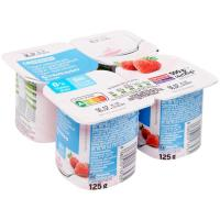 Yogur de fresa cremoso 0% EROSKI, pack 4x125 g
