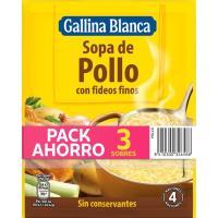 Sopa de pollo con fideos GALLINA BLANCA, pack 3x97 g