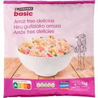 Arroz 3 delicias EROSKI basic, bolsa 1 kg