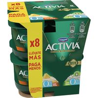 Activia con kiwi-piña 0% DANONE, pack 8x125 g