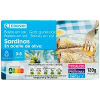 Sardina en oliva bajo en sal EROSKI Sannia, lata 115 g