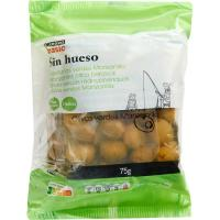 Aceitunas sin hueso EROSKI basic, pack 3x75 g