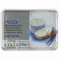Queso de untar natural EROSKI, tarrina 250 g