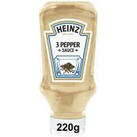 Salsa 3 pimientas HEINZ, bocabajo 220 g