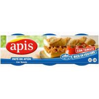 Paté de atún con tomate frito APIS, pack 3x80 g