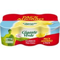 Maíz dulce GIGANTE VERDE, pack 6x140 g