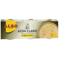 Atún claro en aceite virgen ALBO, pack 3x65 g