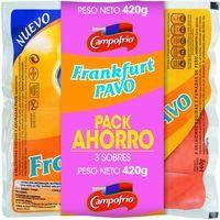 Salchichas Frankfurt de pavo CAMPOFRÍO, pack 3x140 g