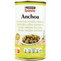 Aceitunas rellenas de anchoa EROSKI basic, lata 150 g