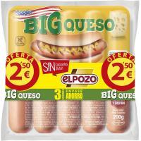 Salchichas big con queso ELPOZO, pack 3x180 g