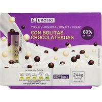 Yogur mix bolitas EROSKI, pack 2x122 g