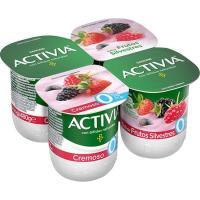 Activia 0% cremoso sabor a frutas silvest. DANONE, pack 4x125 g