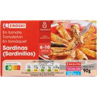 Sardinilla en salsa de tomate EROSKI, lata 90 g