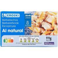 Berberechos al natural EROSKI, lata 58 g