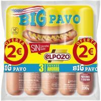 Salchichas big de pavo ELPOZO, pack 3x180 g