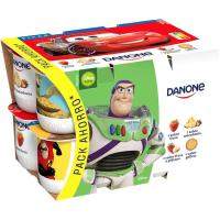Yogur de fresa-macedonia-galleta-plátano DANONE, pack 12x125 g