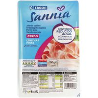 Jamón cocido contenido reducido de sal EROSKI Sannia, pack 150g