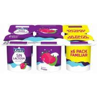 Yogur sin lactosa de fresa KAIKU, pack 6x125 g
