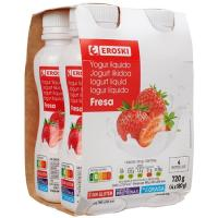Bonyourt de fresa EROSKI, pack 4x180 g