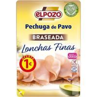 Pechuga de pavo braseada lonchas finas ELPOZO, bandeja 100 g