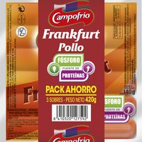 Salchichas Frankfurt de pollo CAMPOFRÍO, pack 3x140 g