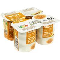 Yogur natural con azúcar de caña EROSKI, pack 4x125 g