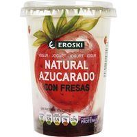 Yogur bicapa de fresa EROSKI, tarro 500 g