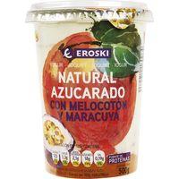 Yogur bicapa de melocotón-maracuya EROSKI, tarro 500 g