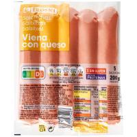 Salchicha con queso EROSKI, sobre 200 g