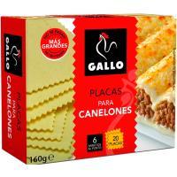 Pasta para canelones GALLO, 20 placas, caja 160 g