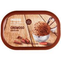 Helado de chocolate en trozos EROSKI, tarrina 500 g