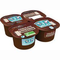 Postre de chocolate ecológico LAS 2 VACAS, pack 4x100 g