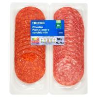 Chorizo Pamplona-Salchichón EROSKI, pack 2x90 g
