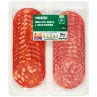 Chorizo dulce-Salchichón EROSKI, pack 2x90 g