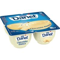Natillas de chocolate blanco DANONE Danet, pack 4x115 g