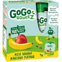 Fruta triturada de manzan-plátano 100% GOGO SQUEEZ, pack 4x90 g