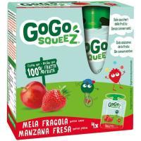 Fruta triturada de manzana-fresa 100% GOGO SQUEEZ, pack 4x90 g