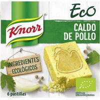 Caldo de pollo ecológico KNORR, 6 pastillas, caja 60 g