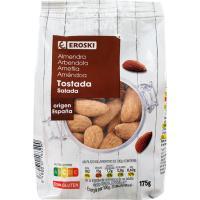 Almendra tostada con piel EROSKI, bolsa 175 g