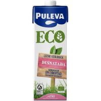 Leche Ecológica Desnatada PULEVA, brik 1 litro